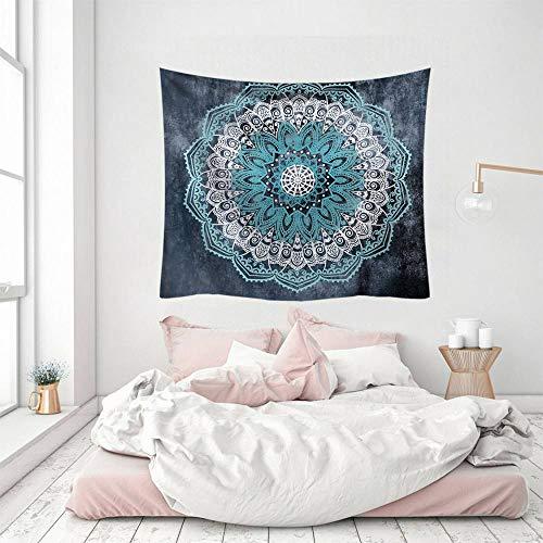Tapisserie, blau, indisches Mandala, Kunst, Bohemia, Hippie, 3D-Druck, Polyester, Silber, dekorativ, Picknick, Schlafsaal, Wohnzimmer, Schlafzimmer, Arbeitszimmer, Fenster