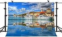 HD素晴らしい街並み自然景観背景クロアチアトロギール船写真背景ビニール7x5ft YouTube Facebook写真背景スタジオブース小道具WQPH347