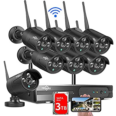 ?3TB HDD Pre-Install? Hiseeu Wireless Security Camera System, 8CH 1080P NVR 4Pcs Outdoor/Indoor WiFi Surveillance Camera with Night Vision, Waterproof, Motion Alert, Remote Access