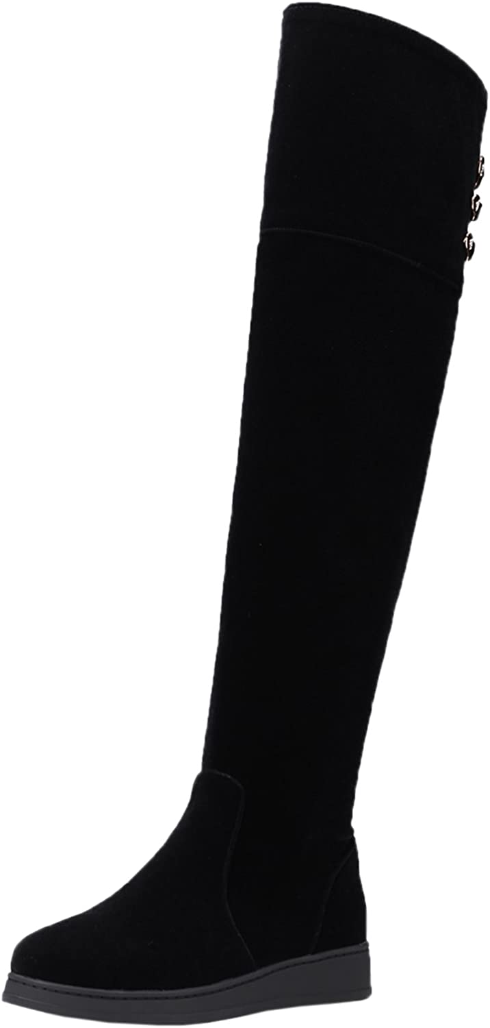 BIGTREE Over The Knee Boots Women Fall Winter Warm Faux Suede Metal Strap Black Flat Riding Boots