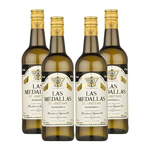 Wein Las Medaillen Manzanilla 75 cl - D.O. Manzanilla-Sanlucar de Barrameda - Bodegas Argüeso (4 Flaschen)
