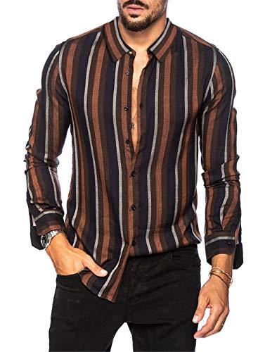 Hombre Camisa Manga Larga Slim Fit Funky Camisa Hawaiana Señores Manga Larga Casual Camisas Hombre Otoño Camiseta a Raya Tops