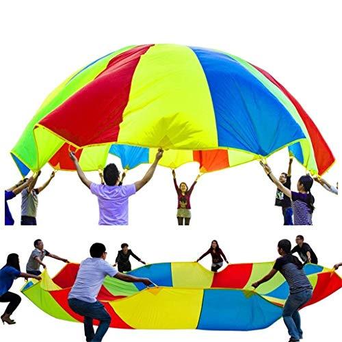 WUYEA Juguete para Actividades de Grupo de paracaídas Rainbow Umbrella Parachute Juguete de Desarrollo Infantil y Deportivo para niños, Interiores y Exteriores,2mfor6/8players