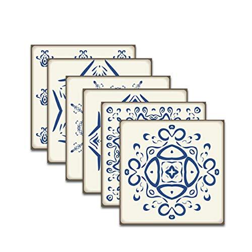 YXDS Etiqueta engomada del azulejo de Piedra Azul y Blanca Lavable Impermeable fácil de Pegar Buen Efecto Decorativo Etiqueta engomada del azulejo 6pcs