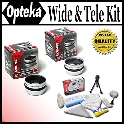 Opteka 0.5X Wide Angle & 2X Telephoto HD2 Pro Lens Set for Canon Elura 2, 2MC, 20MC, 10, 100, MVX460, 450, 430, MVX1Si, Optura 100, S1, DC10, DC10 and DC20 Digital Camcorders from Opteka