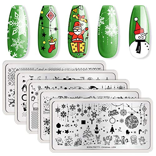 BORN PRETTY Stamping Plate Christmas Snowflake Santa Rectangle Nail Stamping Plate Nail Stamp Image Plate Manicuring Series 5PCS
