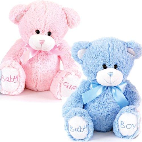 Bargains-Galore - Orsacchiotto di peluche con scritta 'Baby Boy' o 'Baby Girl' sulle zampe, 20 cm, ideale come regalo per la nascita