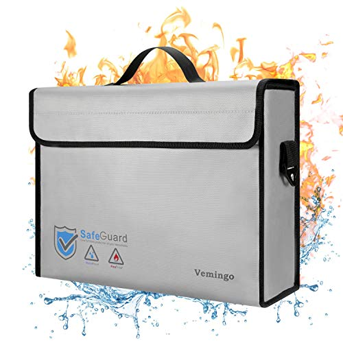 Fireproof Bag, 2020 Upgraded Vemingo Water Resistant Fireproof Document Holder Fireproof Safe Non-Itchy Silicone Coated Storage for Money, Documents, Jewelry, Passport and Laptop