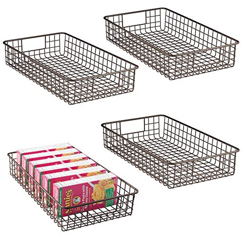 mDesign Juego de 4 canastos de alambre fabricados en metal – Cesta de almacenaje multiusos ancha para encimera, cocina, despensa, etc. – Ideal como caja organizadora para el armario – color bronce