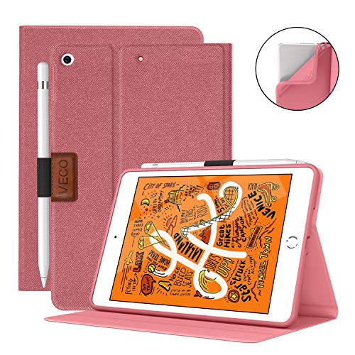 VECO iPad Mini 5 Case with Pencil Holder,Denim Series - Premium Shockproof Case with Auto Sleep/Wake Feature for iPad Mini 5th Generation (Rose Red)