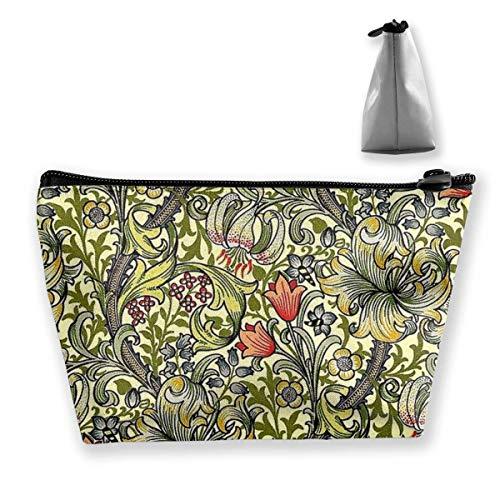 Sac de Rangement de Sac cosmétique trapézoïde Blooming Garden Golden Lily Zipper Multifonctionnel Accory Wallet Storage Bag Travel Shopping en Plein air Coin Wallet Organizer Gift