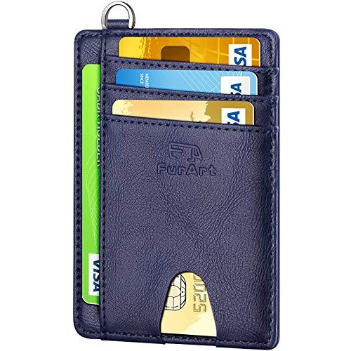 FurArt Portefeuille Minimaliste Fin, Porte-Cartes de Crédit avec Blocage Anti RFID, Les Femmes Hommes, Démontage Manille en D,Peau De Vachette Vintage Royal Bleu