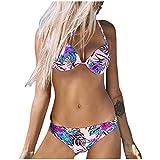 KPILP Maillots de Bain Femme La Mode Impression Maillots de Bain 2 Pièces Confortable Sling Grande Tasse Bikini Maillots Deux Pièces (Rose,XL