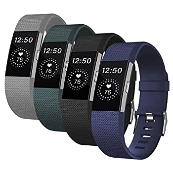 Fondenn Bands Compatible with Fitbit Charge 2 for Women and Men  4 Pack  Classic Adjustable Soft Silicone Sport Strap Replacement Wristband for Fitbit Charge 2