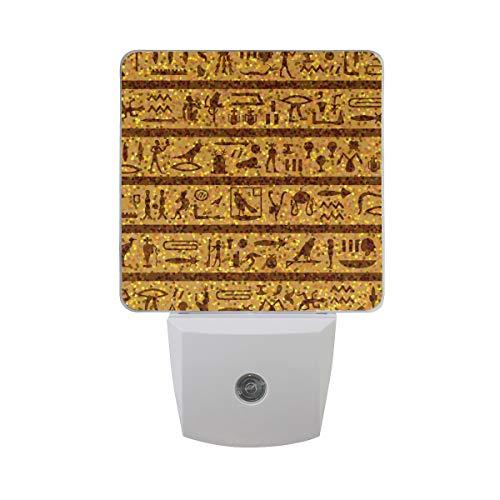 Ahomy LED-Nachtlicht, ägyptische Hieroglyphen, Dämmerung zu Dämmerung und Morgendämmerung, Plug-in Lampe für Babys, Erwachsene, Kinderzimmer, 2 Stück