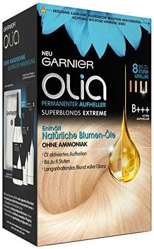 Garnier Olia Haar Aufheller B+++ Ultra Bleach superblonds extreme / Haar Coloration bis zu 8 Stufen Aufhellung (mit natürlichen Blumen-Ölen) Ohne Ammoniak - 3 x 1 Stück
