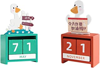 NUOBESTY 2Pcs Christmas Wooden Advent Calendar Cartoon Duck Shaped Christmas Countdown Blocks Xmas Table Decoration 2021 N...