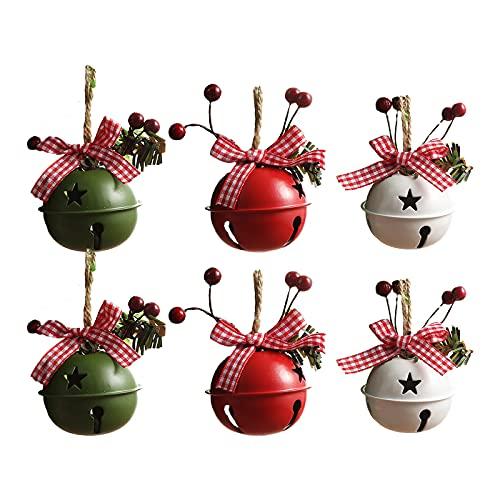 HelloCreate 6 campane di Natale in metallo grandi campane con ciondolo a forma di agrifoglio per albero di Natale, decorazioni per ghirlande