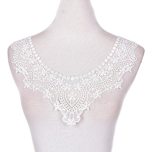 1 Stück Gestickte Weiß Spitze Ausschnitt Ansatz Spitzenkragen Lace Collar Applique Patches Trim Embellishments Für Kleid Dekor