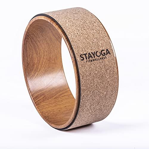 STAYOGA Rueda de Yoga Cork Premium. Protege tu Columna. Ayuda a Tener más flexibilidad. para Todos los Niveles. Fácil de Transportar.