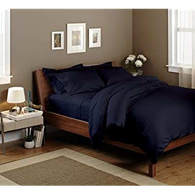 LUXURIOUS AND PREMIUM BEDDING COLLECTION!!4-Pc Bedsheet Set with 800 TC,100% BAMBOO COTTON,Ultrasoft Ecofriendly Hypoallergenic And Antibacterial Sheet set,with 21'' Deep Pocket(QUEEN-NAVY BLUE)
