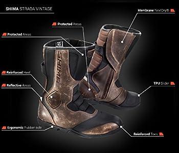 Shima Strada Bottes de Moto/Sport Vintage, Style rétro, pour Homme - en Cuir - Marron (41-46)