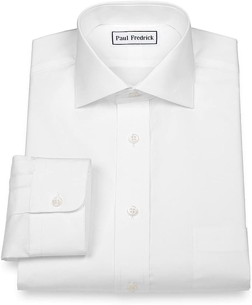 Paul Fredrick Men's 2-Ply Cotton Cutaway Collar Button Cuff Dress Shirt