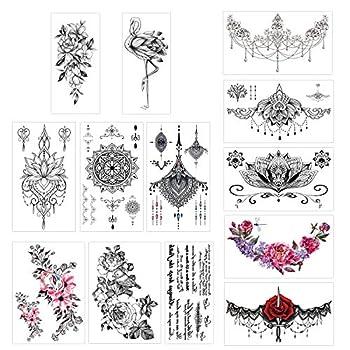 Konsait 13 Sheets Temporary Tattoos for Girls Women Adult Festive Tattoo Fake Waterproof Temporary Tattoos Black Body Art Sticker Cover Up Back Arm Neck Flower Mehndi