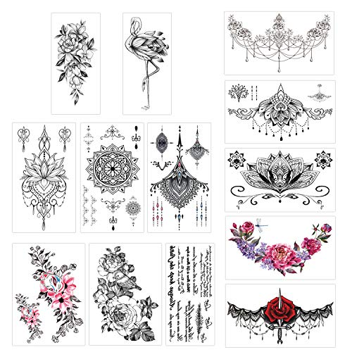 Konsait 13 Sheets Temporary Tattoos for Girls Women Adult Festive Tattoo Fake Waterproof Temporary Tattoos Black Body Art Sticker Cover Up Back Arm Neck, Flower, Mehndi