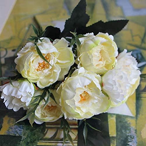 Shabby Chic Bouquet European Pretty Bride Wedding Piccoli Fiori di Seta di peonia Mini Fiori Finti economici per la Decorazione Domestica Indoor (Color : White) Copricapo