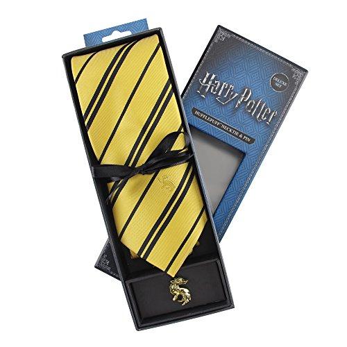 Cinereplicas - Harry Potter - Corbata con Broche - Edición Deluxe - Licencia Oficial - Casa Hufflepuff - Talla Única – 100 % Microfibra – Se Entrega con 1 Caja de Regalo - Amarillo y Negro