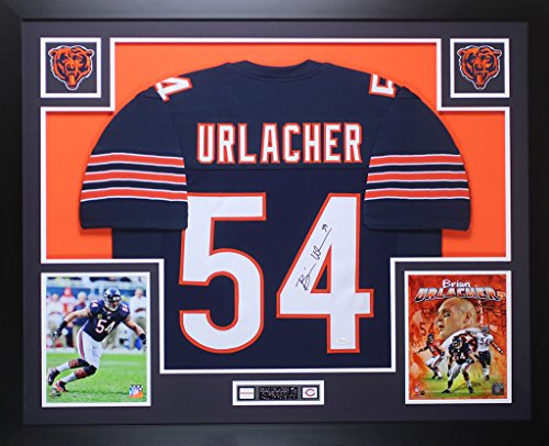 Brian Urlacher Autographed Navy Chicago Bears Jersey - Beautifully Matted and Framed - Hand Signed By Brian Urlacher and Certified Authentic by JSA - Includes Certificate of Authenticity