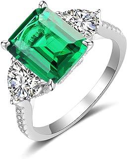 dnswez الزمرد خاتم الخطوبة كوكتيل خواتم - 4ct قطع الإسبنيل الأخضر الزمردي خاتم فضة للنساء الفتيات