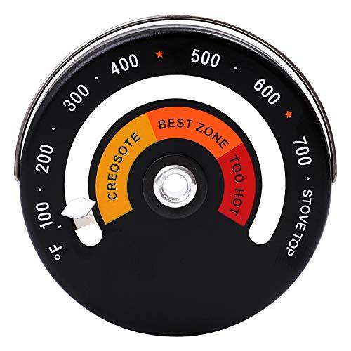 Elcoho - Termómetro magnético para estufa, quemador de leña, temperatura superior, estufa de humo, termómetro para chimenea, accesorios