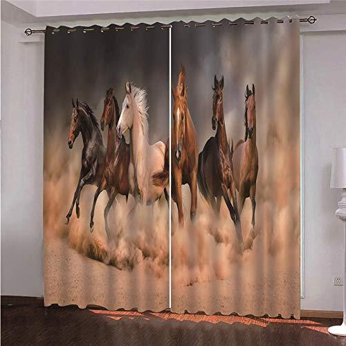 xczxc Gardinen Blickdicht Galoppierendes Pferd 2er Set Verdunklungsvorhang Soft Blickdicht Vorhang Gardinen mit Ösen Verdunkelungsgardinen für Schlafzimmer Wohnzimmer 2X B110x H215 cm