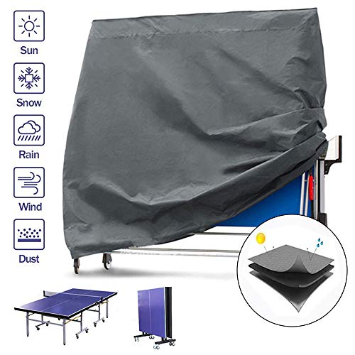 Funda para Mesa de Ping Pong Funda Protectora para Mesa de Ping-Pong, Cubierta Protectora de Polvo Impermeable, EDAHB Funda para Muebles para Interiores y Exteriores, 165×70×185 cm (420D-gray)