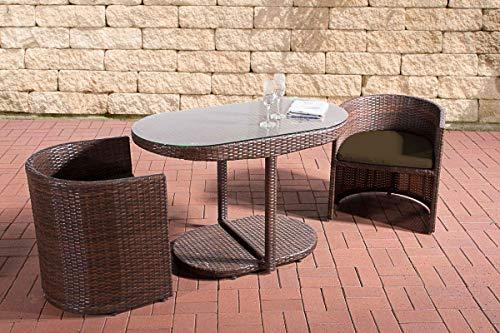 CLP Polyrattan Sitzgruppe Bayamo I Robuste Gartenmöbel Mit Aluminiumgestell I 3-Teiliges Garten-Set aus Flachrattan I, Farbe:braun-meliert, Polsterfarbe:Terrabraun