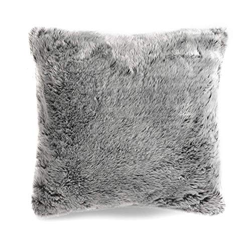 icon Faux Fur Decorative Cushion, 2 Pack, Arctic Wolf Grey, 45cm, Fluffy Furry Throw Pillow Cushions for Sofa, Bedroom