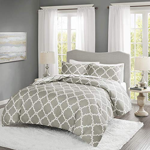 227 Non-Iron Reversible Printed Duvet Cover Set Double Size - Grey & White Fretwork Motifs Design - 3 Pics Ultra Soft Hypoallergenic Microfiber Quilt Cover Sets