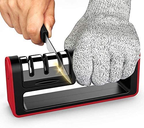 SMSOM Afilador de Cuchillos de Cocina, afila, Hones, y Abrillantadores serrado, Biselado, Standard Láminas de 3 etapas afilador de Cuchillos de Cocina