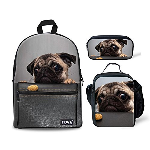 FOR U DESIGNS Canvas Backpack Cute Pugs Lightweight Teen Girls Backpacks School Book Bags 3 Piece Set