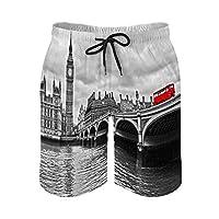 ロンドンの風景画アウトドア ハーフパンツ メンズ 速乾 半ズボン 吸汗 夏 スポーツショーツ スウェット 短パン ポケット付きビーチパンツ