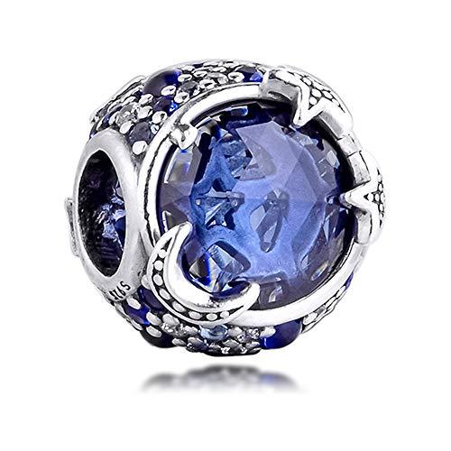 FUNSHOPP 2020 - Abalorio de plata 925 con diseño de estrella azul celestial, compatible con...