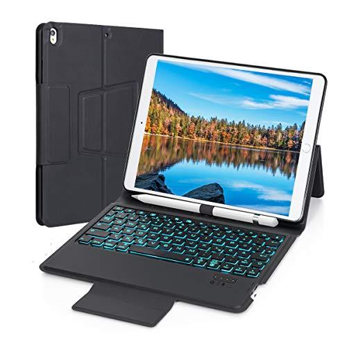 EC TECHNOLOGY - QWERTZ Custodia per Tastiera Bluetooth per iPad 9,7 con retroilluminazione a 7 Colori, Ultra Sottile