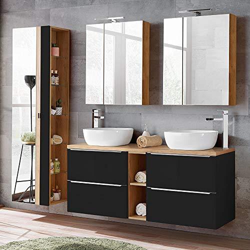 Lomadox - Juego de muebles de baño de 140 cm con 2 lavabos de recambio, 2 armarios con espejo, armario alto con espejo, color gris oscuro satinado