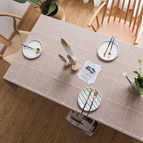 GTWOZNB Lino con Estilo Antimanchas Mantel Decorativo para Reuniones Familiares Rayas rectangulares Color sólido-café_El 110 * 110cm