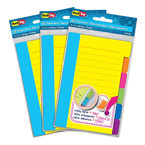 Redi-Tag Divider Notas adhesivas 60 notas a rayas por paquete, 4 x 6 pulgadas, N/A, Paquete de 3
