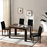 <span class='highlight'>Cherry</span> <span class='highlight'>Tree</span> <span class='highlight'>Furniture</span> 5-<span class='highlight'>Piece</span> <span class='highlight'>Dining</span> Room Set 4-Seater <span class='highlight'>Dining</span> <span class='highlight'>Table</span> with 4 Chairs, Walnut Colour <span class='highlight'>Table</span> with Black PU Leather Seats