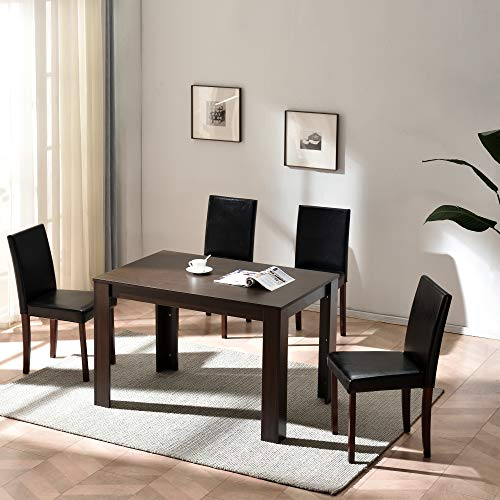 Cherry Tree Furniture 5-Piece Dining Room Set 4-Seater Dining Table with 4 Chairs, Walnut Colour Table with Black PU Leather Seats