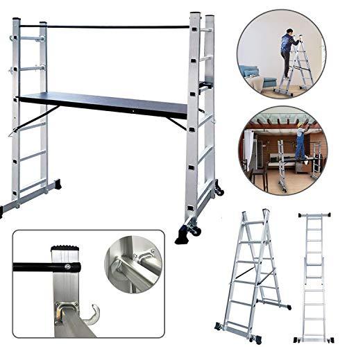 Aluminium Leiter und Gerüst Baugerüst Arbeitsgerüst Baugerüst Multigerüst Multifunktionsleiter Leitergerüst Gerüst - 3 in 1 - Multigerüst Leiter Klappleiter Belastbarkeit bis 150 kg